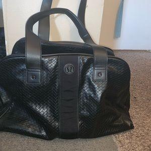 Black leather Lululemon carry on tote